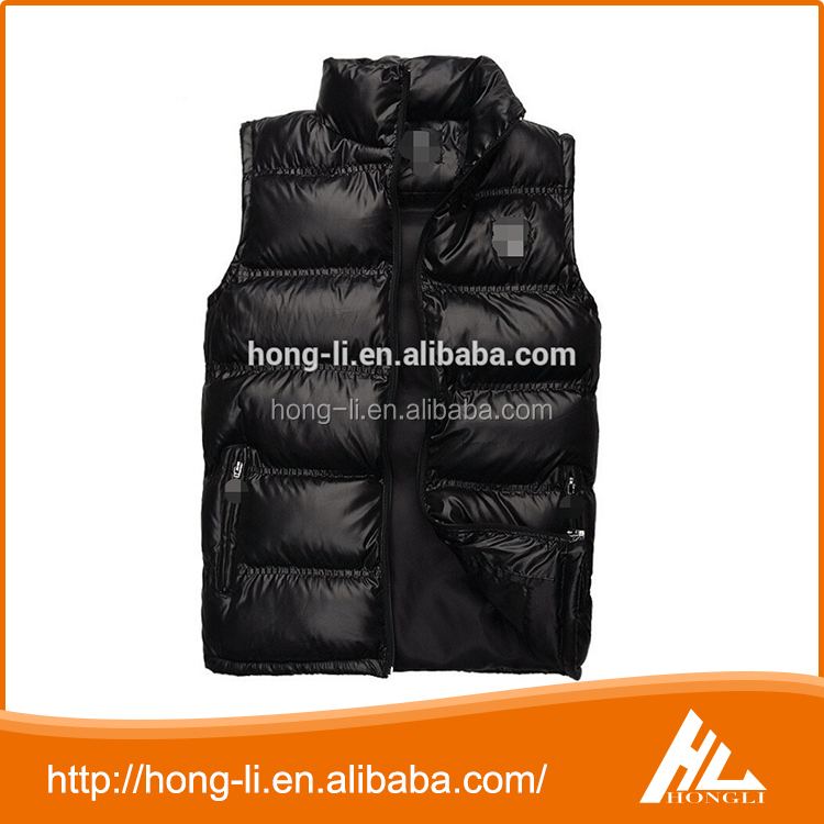 High quality custom wholesale outdoor padded goose down vest mens