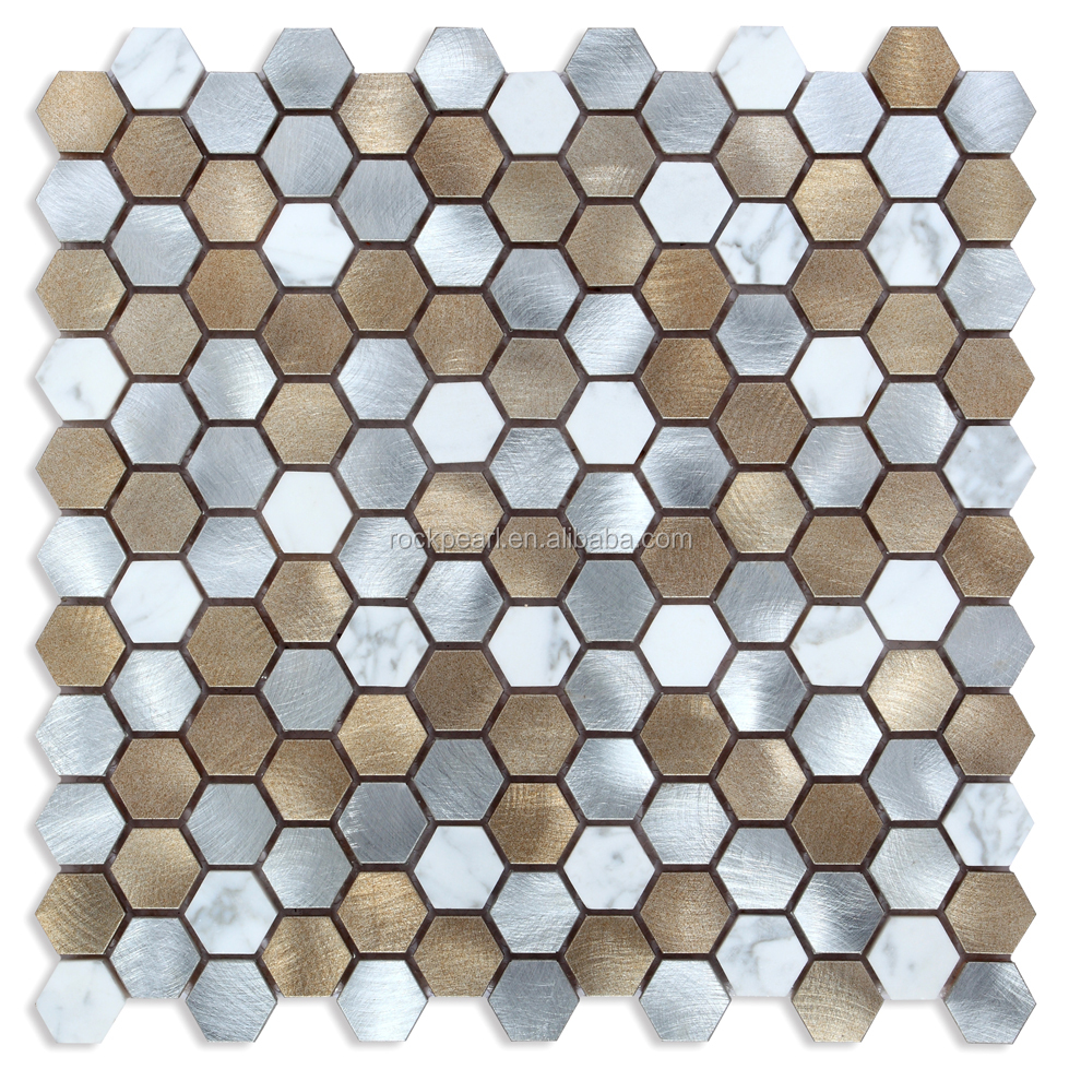 Elegant colored Hexagon Metal Mosaic Tile for kitchen Backsplash