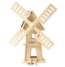 Kids DIY Solar Toy Educational Windmill Model Puzzle Wood Crafts