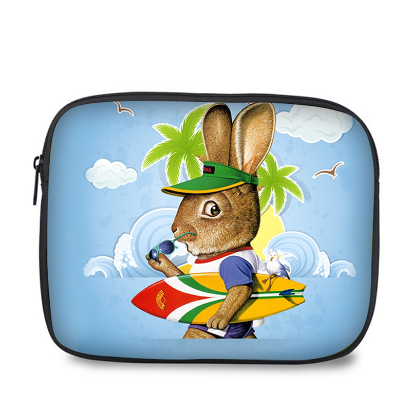 Universal lovely rabbit print shockproof cartoon case for tablet pouch for Ipad