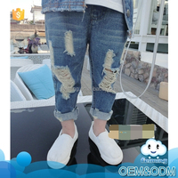 Good quality child pants wholesale no brand scrap jeans pants name girls fashion new model girls ripped jeans