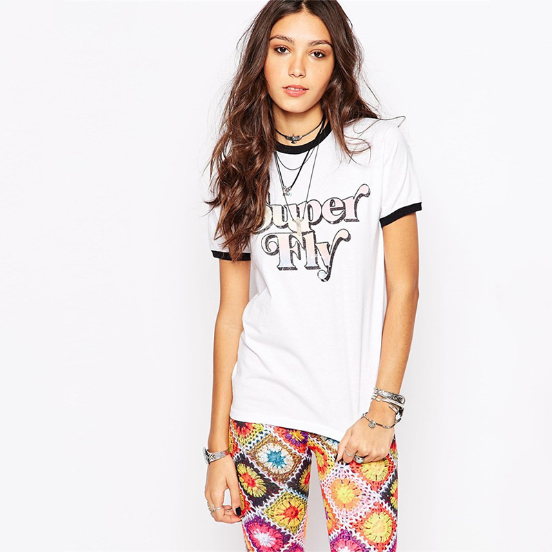 Fitted ringer girls hip hop t-shirt with contrast rib & superfly print