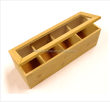Bamboo Tea Bag Storage Box Wooden 4 Equally Compartments