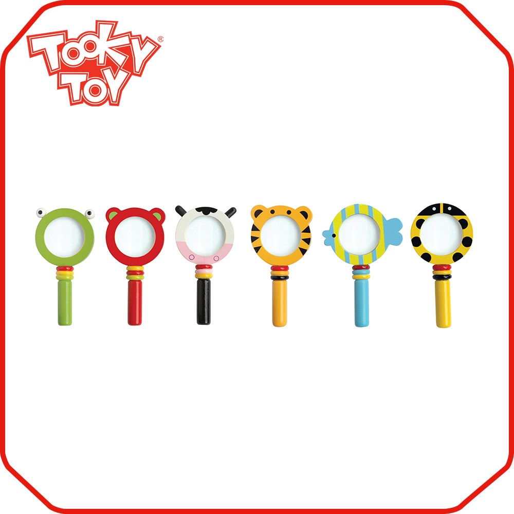 Promotion custom wooden round mini small magnifying glass with light