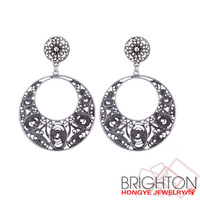 Anti Silver Alloy Big Round Earrings E1-36893