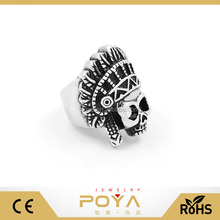POYA Jewelry Custom Characters Skull Ring Jewelry, Indians Skeleton Ring, Indian Chief Skull Ring