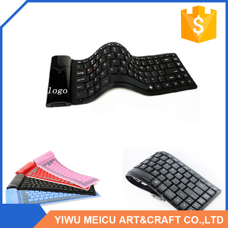 Hot selling attractive style unique silicone foldable bluetooth wireless keyboards