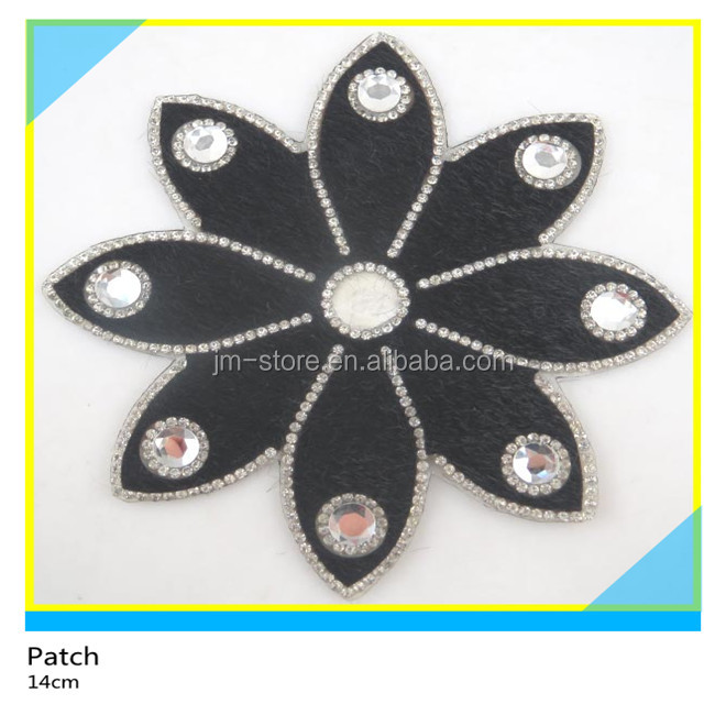 Beautiful Eight Petals of Flower Design True Horse Hair Strass Crystal Patch Hotfix For Skirts 14 cm