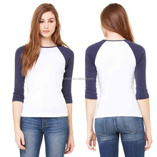 Baseball Tee Shirts Wholesale 100% Combed Ring-spun Cotton Women's Crew Neck Baby Ribbed Cuffs And Hem 3/4 Sleeve Raglan T Shirt