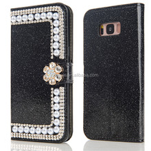 Fashion Luxury Bling Glittery Hand-made bling bling rhinestone crystal diamond wallet leather case for samsung galaxy s7 edge