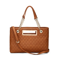 Designer Famous Brand Cheap Elegant Women Double Chain Straps Stitching Shoulder Bags