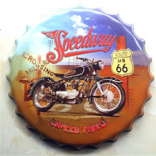 Motorcycle Route 66 Speed bottle cap design beer cap Embossed Metal bar poster metal <strong>craft</strong> for home bar restaurant coffe shop