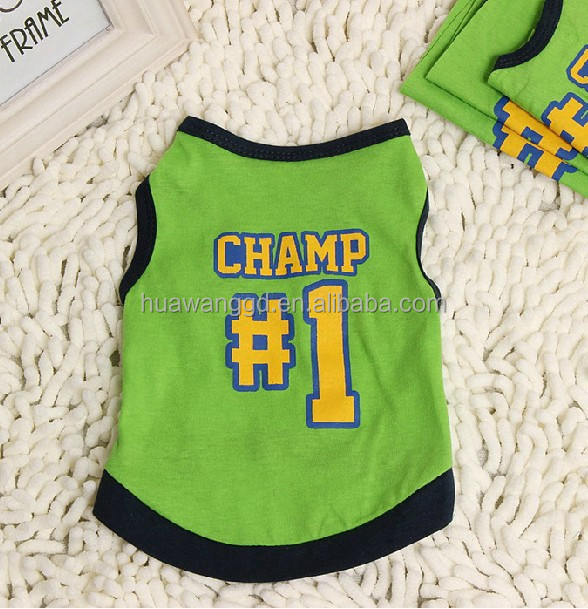 small dog clothes made in china green dog clothes dog tank top with champ number <strong>1</strong>