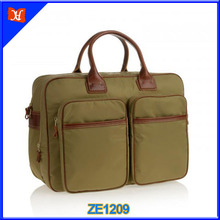 Top quality nylon and leather travel weekend bag, leisure nylon duffel weekend bags, 2015 new fashion waterproof duffle bag