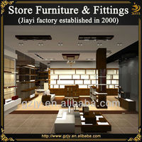 Luxury cherry shoe cabinets and footwear rack stand display for male leather shoes store fixtures