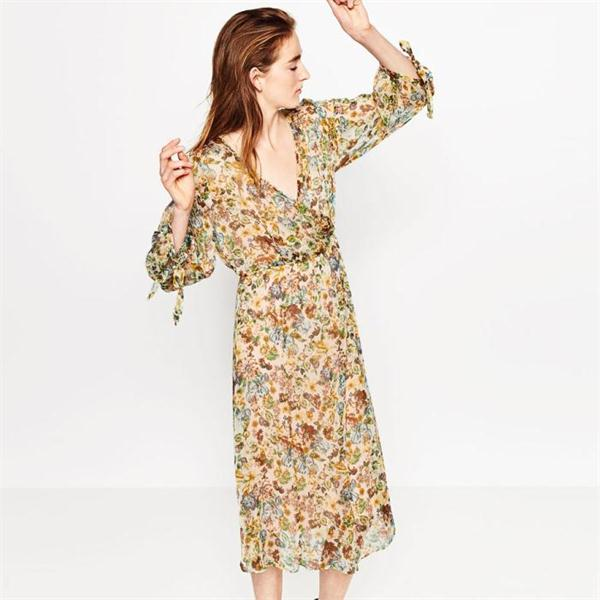 Beach Bohemian western summer frocks long sleeve printed chiffon women backless sexy images of girls without clothes