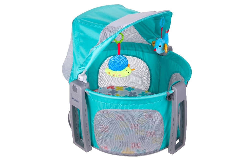 baby travel cot with canopy and toys, round baby playpen