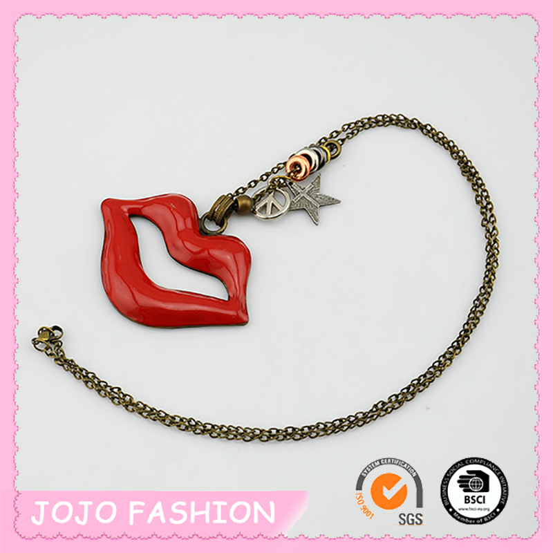 Most Wholesale Sexy Flaming Lip Pendant Copper Chain Necklace For Sale