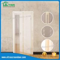 Magnetic Wooden Screen Doors Mesh Curtains For Sale