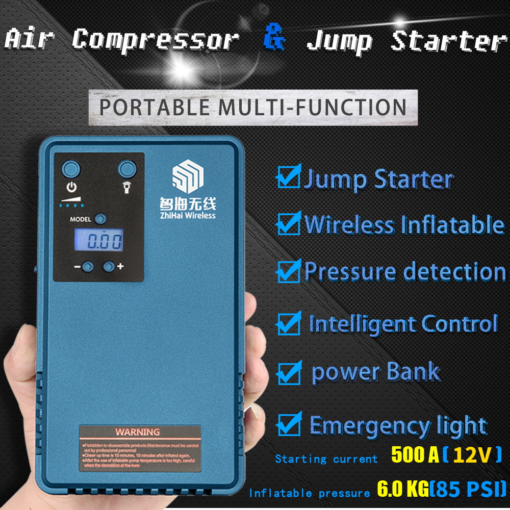 12V Mini Portable Car Jump Starter 10200mah500A Vehicle Power Bank with Tyre Air Pump Compressor
