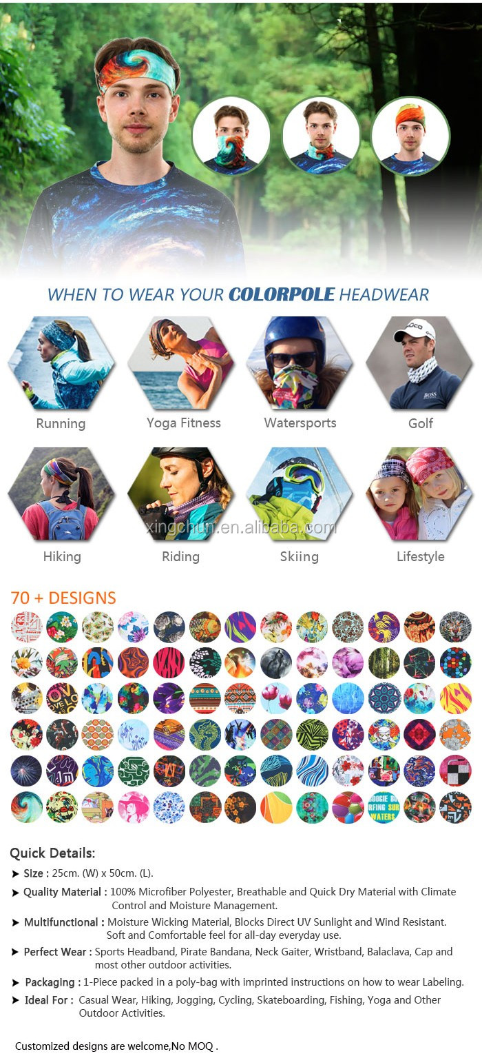 Outdoor sports multifunctional bandana with custom print