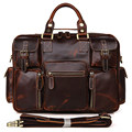 7028C 15 Inch Retro Buffalo Hunter Leather Laptop Messenger Bag Office Briefcase Business Bag