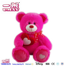 New plush stuffed bear with heart 0402 Shenzhen toy factory