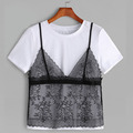 Wholesale new women apparel color block style ladies floral overlay contrast cotton lace T-shirt