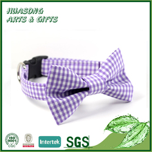 Plaid polyester dog bow collar with buckle