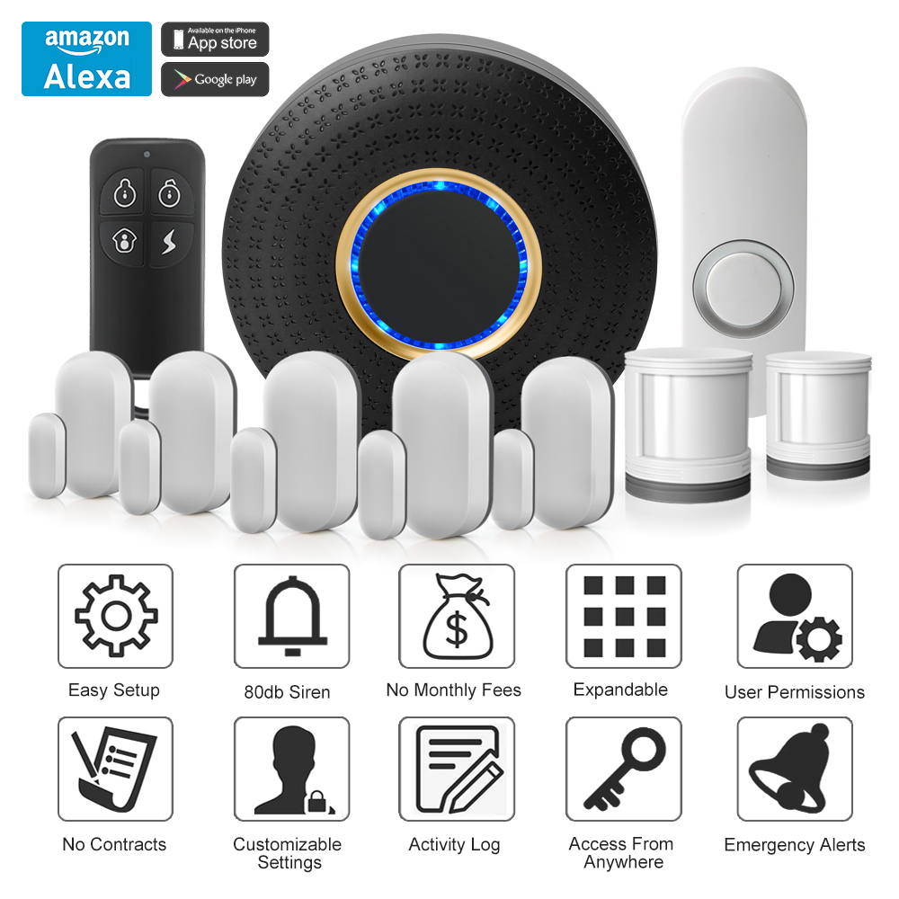 2017 Newest Model Smart Home Security Alarm with Doorbell Chime Amazon Alexa Compatible