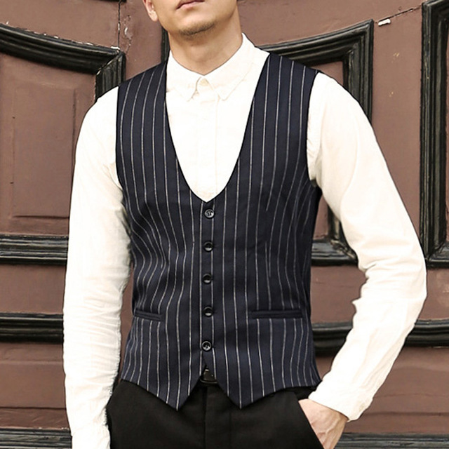 2017 Mens dress suit vest slim fit Formal Business Party waistcoat men striped wedding vest gilet homme Casual Colete Masculino