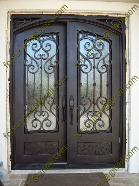 Pure hand forged wrought iron entrance door