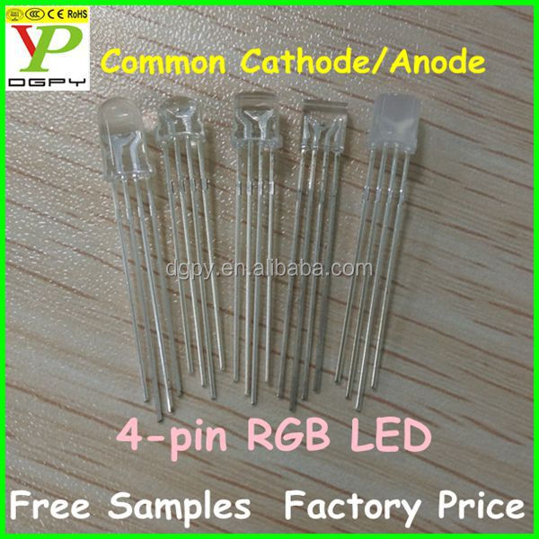 CE ROHS 5mm LED 4 pin rgb common anode /common cathode LED