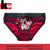girl's dark color brief with print on the front ,cheap pany for little girl ,hot selling girl's underwear style
