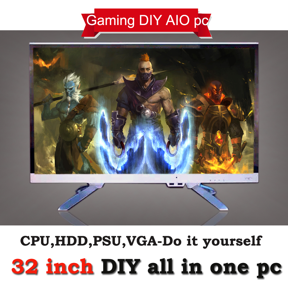 Best buy all in one pc,32 inch high end all in one desktop pc gaming computer support core i5 i7 processor