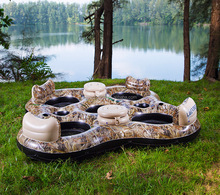 Realtree Color Giant 4 Person Inflatable Lake Raft Pool island Float swimming pool bar with cooler