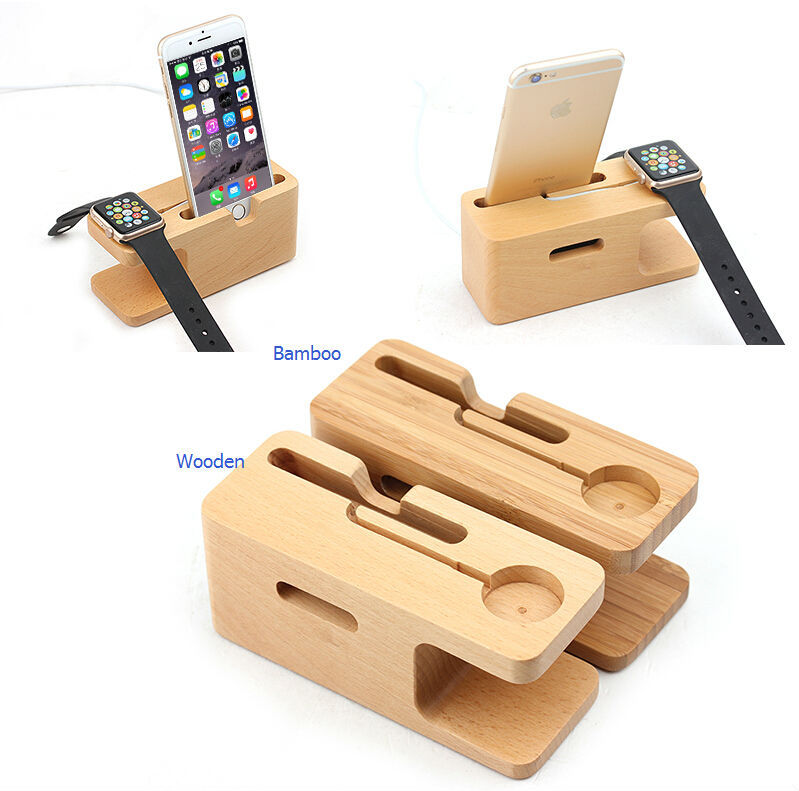 2 in 1 charging display stand for apple watch, for apple watch stand bamboo