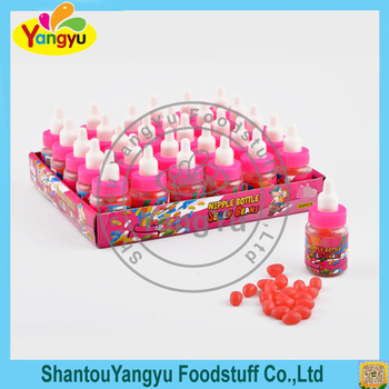 Crispy sugar coated colorful soft jelly candy sweet soft jelly bean in nursing bottle