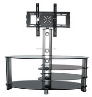 Hot sale luxury Tempered Glass stainless steel leg modern style tv stand