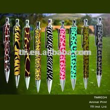Metal Zebra ballpoint pen animal tiger lion giraffe pen SA8000 Sedex safari logo