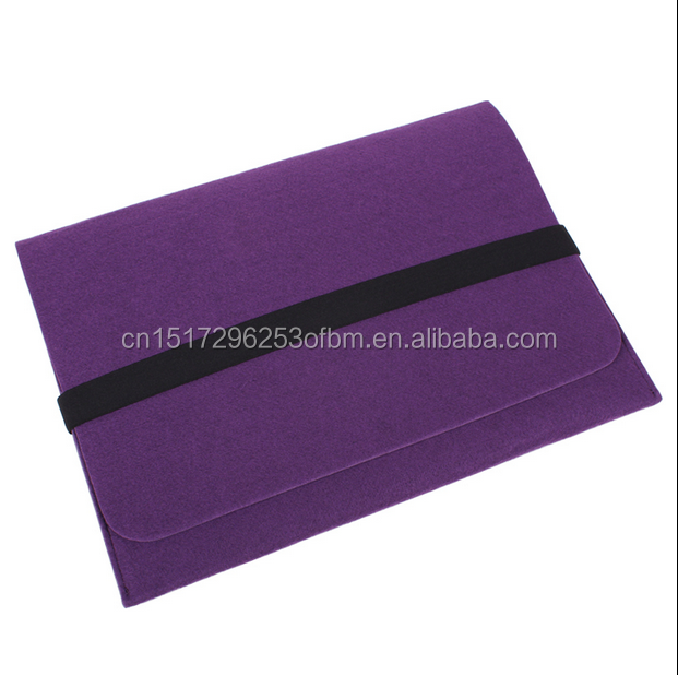Simple Functional A4 size polyester felt document with button bag folder with elastic band for promotion felt file folder