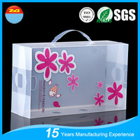 Custom Printing clear plastic shoe box with handle