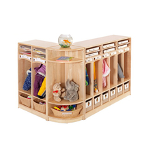 High Quality Wooden Daycare Furniture Children Clothes Cabinet Baby Wardrobe