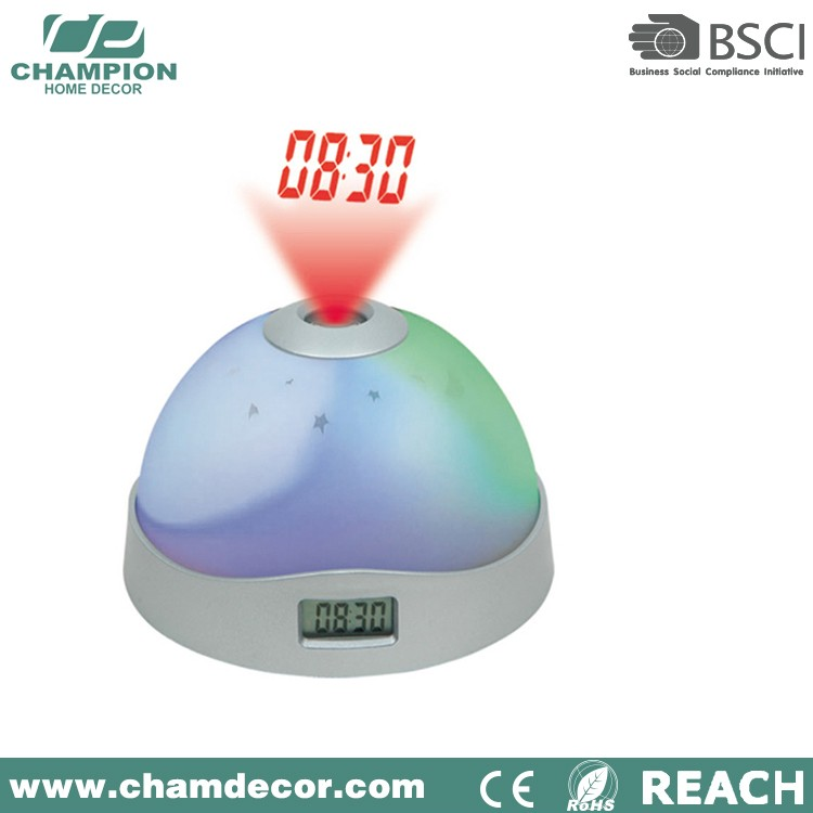 Beautiful analog led laser projection rainbow alarm clock , projector clock
