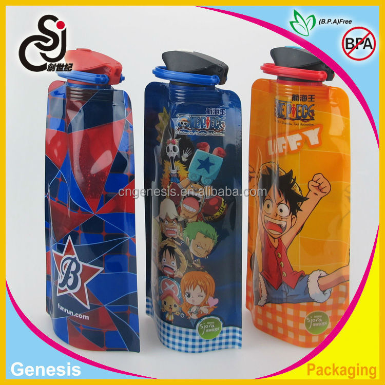 Cartoon foldable plastic water bottle/rollable plastic water bag