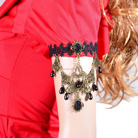 lolita black crystal pearl arm accessories upper lace arm bracelet jewelry