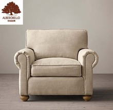 Home Furniture Living Room Single Sofa Chair Set Modern Design 3 Seater Wooden Frame Fabric Upholstery Sofa