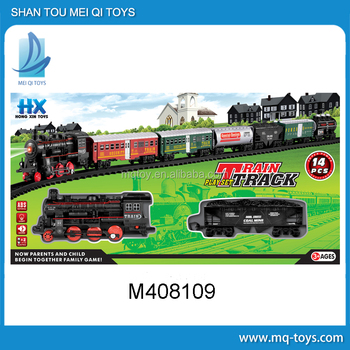 Simulation rail car electric light music train track (14PCS)
