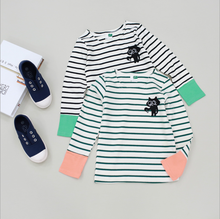 pure cotton striping printed colour matching sleeves children t-shirt