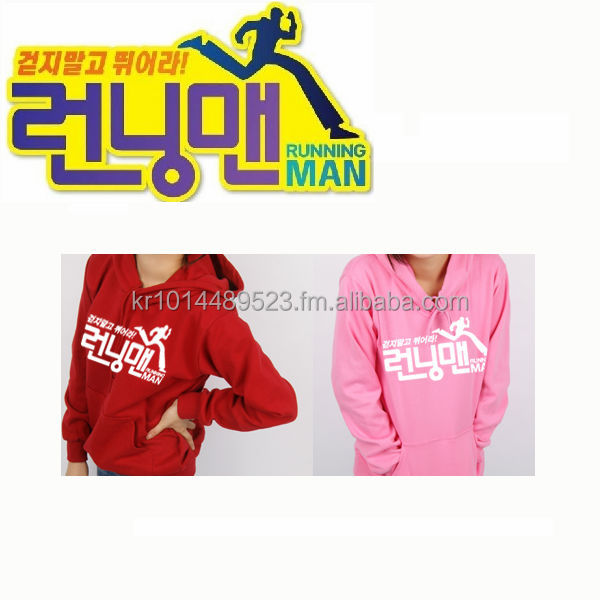 Korea TV SBS RUNNINGMAN LOGO Hooded Tshirt Hoodie with name tag custom t-shirt